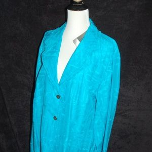 Chico's turquoise silk/linen jacket NWT sz 3